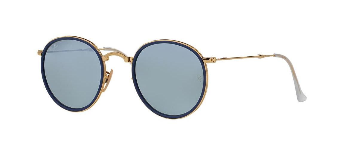 Ray-Ban Sunglasses RB 3517 001 30 ROUND FOLDING I FLASH LENSES   Leonardo  Optics 351007442b